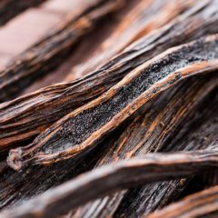 a stack of vanilla bean stalks with exposed vanilla beans